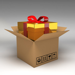 Gift box in cardboard boxes 3d illustration