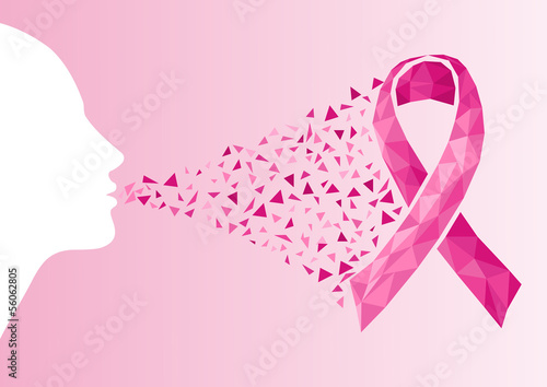 Breast cancer awareness ribbon transparency woman face.