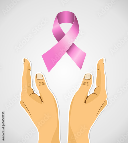Breast cancer awareness ribbon human hands composition EPS10 fil