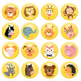 set of different animals in yellow circles