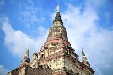 The temple of Wat Yai Chai Mongkol in Ayutthaya near Bangkok, Th