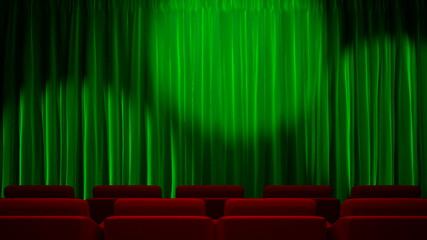 Loop light on green fabric curtain
