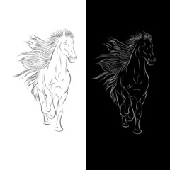 Silhouette of Horse in Vector illustration