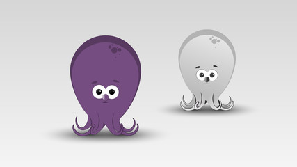 Cartoon Octopus in Vector illustration