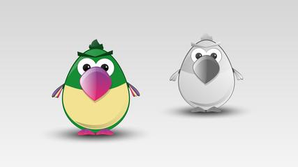 Cartoon Parrot in Vector illustration