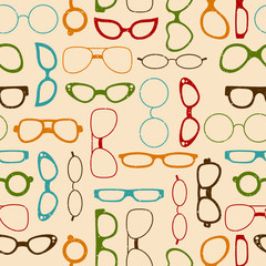 Seamless retro color pattern with glasses