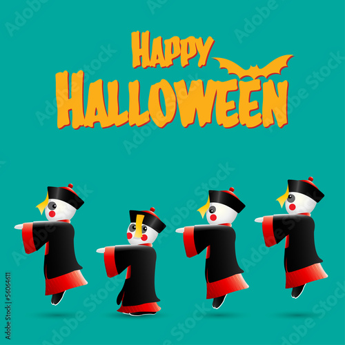 Happy Halloween with Chinese zombies, Vector illustration.