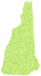 Map New Hampshire - USA - in a mosaic of green squares