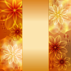 Beautiful background with orange and yellow flowers