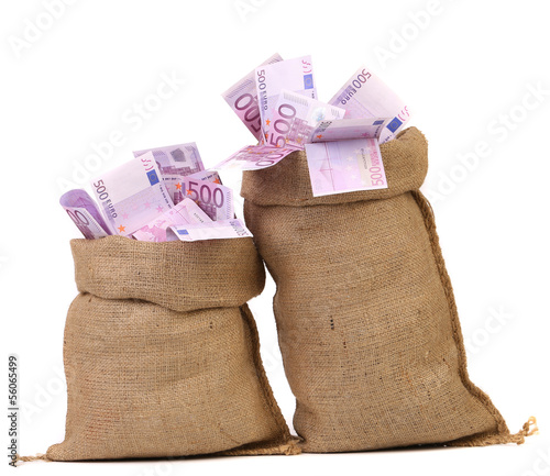 Two bags with many euro banknotes