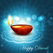 Beautiful happy diwali bright blue colorful hindu diya festival