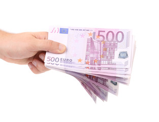 Hands holding 500 euros banknotes