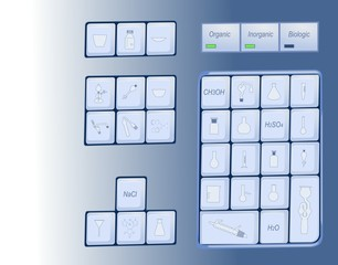 Computer keyboard with chemical symbols on keys