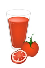 A Glass of Tomatoes Juice with Tomatoes Fruit