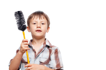 Little kid with dishmop