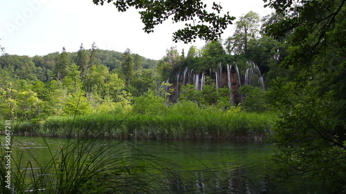 waterfall and lake in the forest, Plitvice Lakes National Park