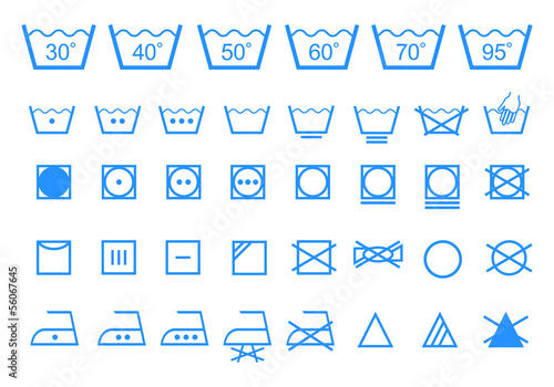 washing care symbols, vector icon set