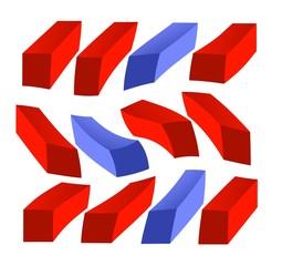 blocchi di colore rosso e blu