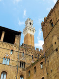 Palazzo Pubblico with Mangia tower in background. Siena, Italy