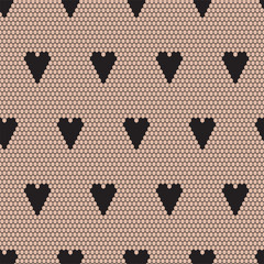 Black lace vector fabric seamless  pattern with hearts