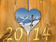 2014, coeur bois et skis