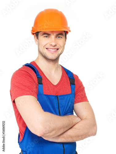 portrait of happy worker in uniform