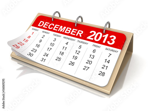 Calendar -  december 2013 (clipping path included)