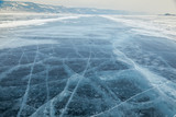 Winter ice road through Baikal