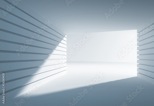 Blue abstract 3d interior with angle of light in gate