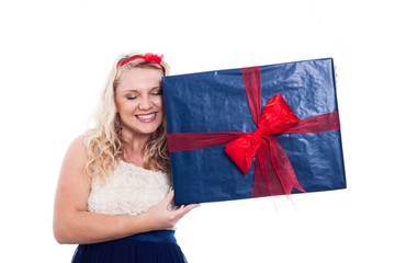 Happy woman with big present