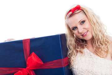 Woman with big present