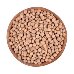 Chick-peas in a wooden bowl on a white background