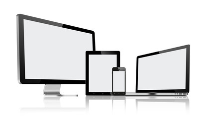 High resolution illustration set of modern computer monitor, lap