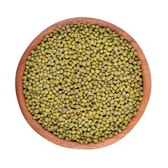 Green mung beans in a wooden bowl on a white background