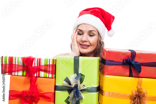 Pleased Christmas woman with presents