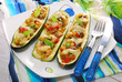 zucchini halves stuffed with curry chicken