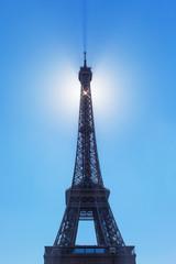 Eiffel tower and sun, Paris.