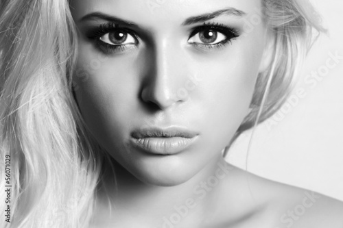 beautiful blond woman.beauty girl.monochrome. make-up