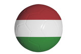 Hungarian flag graphic on soccer ball isolated on white