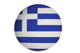Greek flag graphic on soccer ball