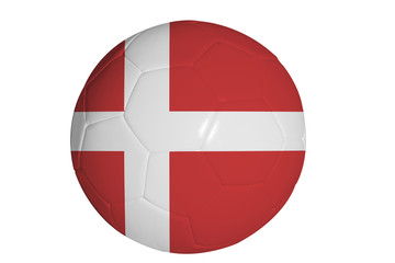 Danish flag graphic on soccer ball