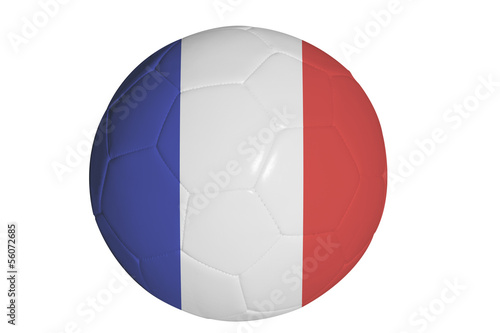 French flag graphic on soccer ball isolated on white