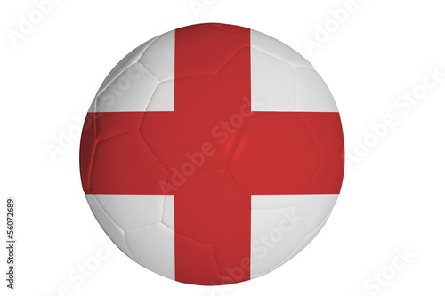 English flag graphic on soccer ball isolated on white