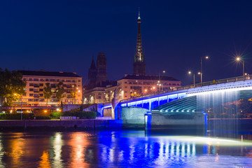 Sityscape of Rouen at night