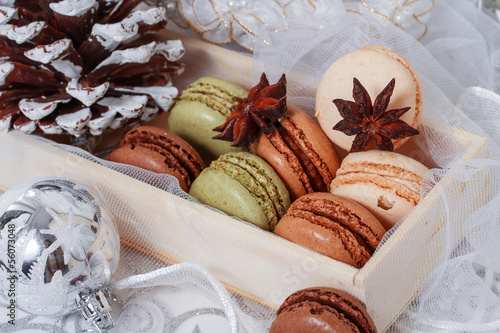 Papiers peints Macarons Christmas background with French macarons