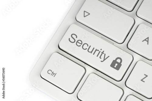Security button on the keyboard on white background.