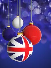 Christmas balls with United Kingdom flag