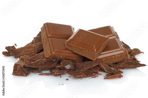 Broken chocolate bar isolated on white background .