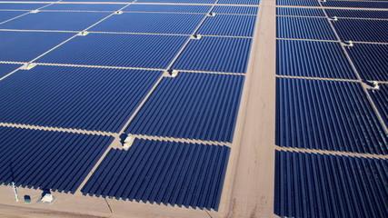 Aerial view desert Solar Energy Farm, USA