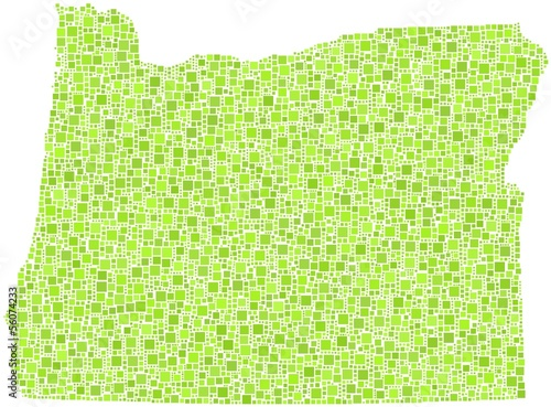 Map of Oregon - USA - in a mosaic of green squares